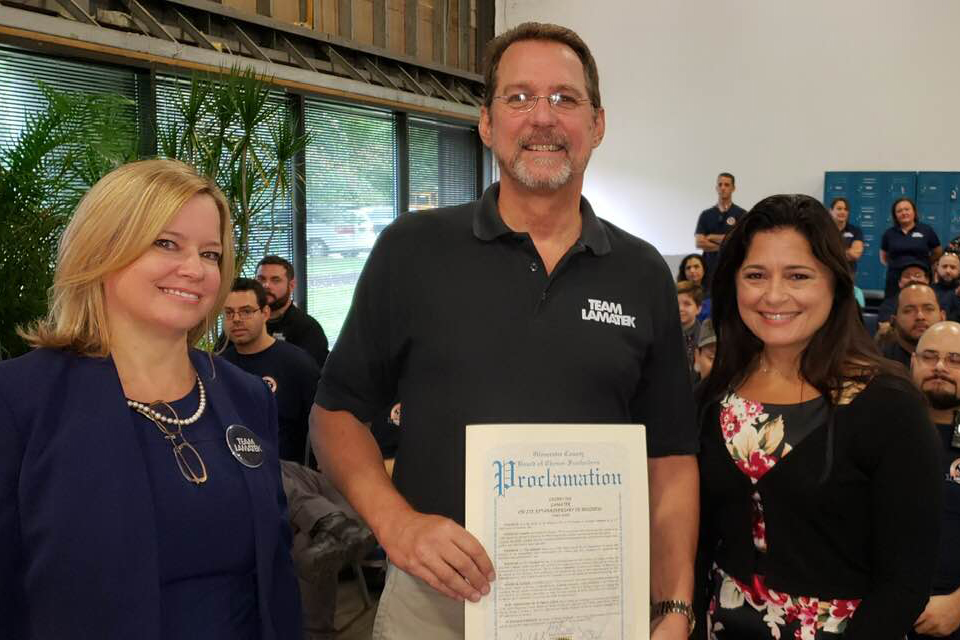 LAMATEK Inc Receives 35th Anniversary Proclamation