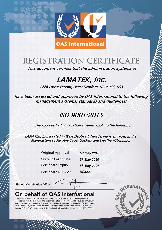 ISO 9001-2015 Certificate LAMATEK Inc.