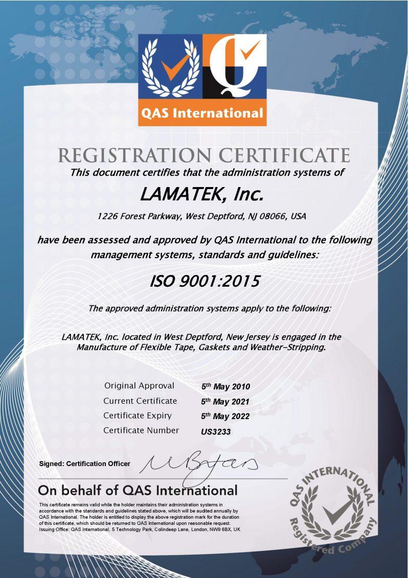 ISO 9001-2015 Certificate LAMATEK Inc. 2021 - 2022